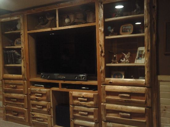 Custom Built In Red Cedar Log Entertainment Center Lots