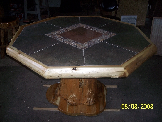 Northern White Cedar Octagon Pub Table With Ceramic Tile