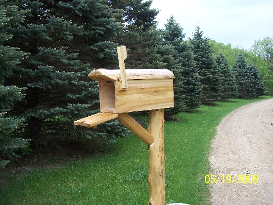 Very Unique Northern White Cedar Log Mailbox With