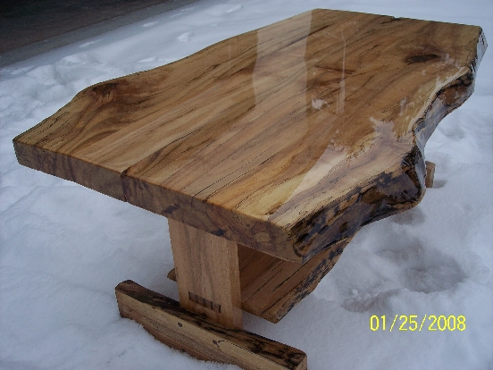 Rustic Maple Slab Coffee Table W Shelf Mortise And Wedged Tenon Joinery On Legs One Of A Kind